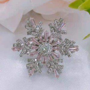 NWT 925 Silver Setting Pink Rotatable Snowflake Ring
